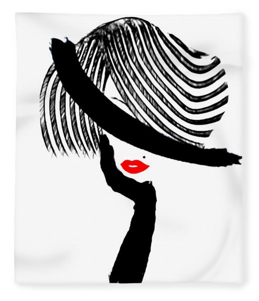 Red Lips Fleece Blanket