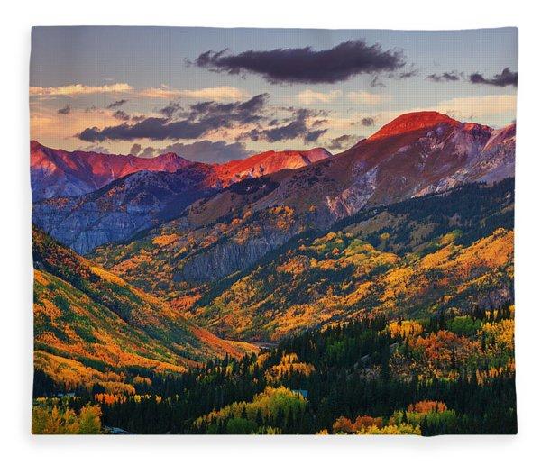 Red Mountain Pass Sunset Fleece Blanket