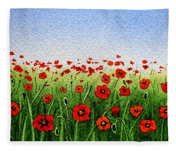 Red Poppies Green Field And A Blue Blue Sky Fleece Blanket