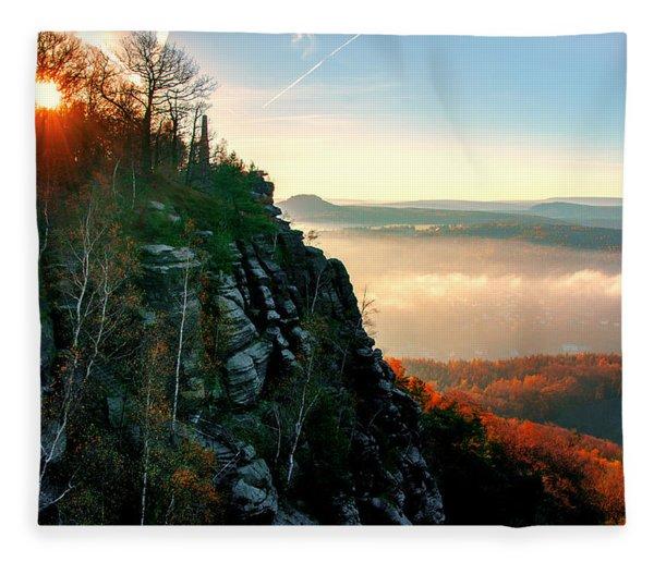 Red Sun Rays On The Lilienstein Fleece Blanket