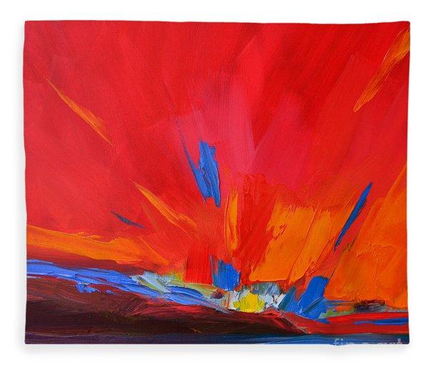 Red Sunset, Modern Abstract Art Fleece Blanket