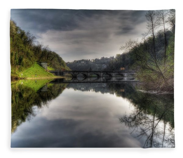 Reflections On Adda River Fleece Blanket