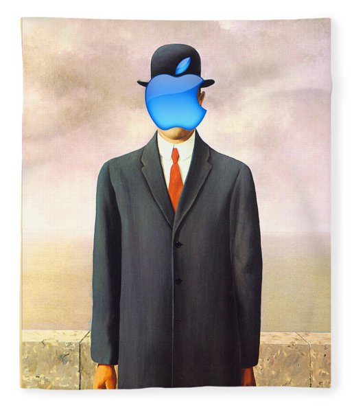 Rene Magritte Son Of Man Apple Computer Logo Fleece Blanket