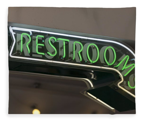 Restrooms In Neon Fleece Blanket