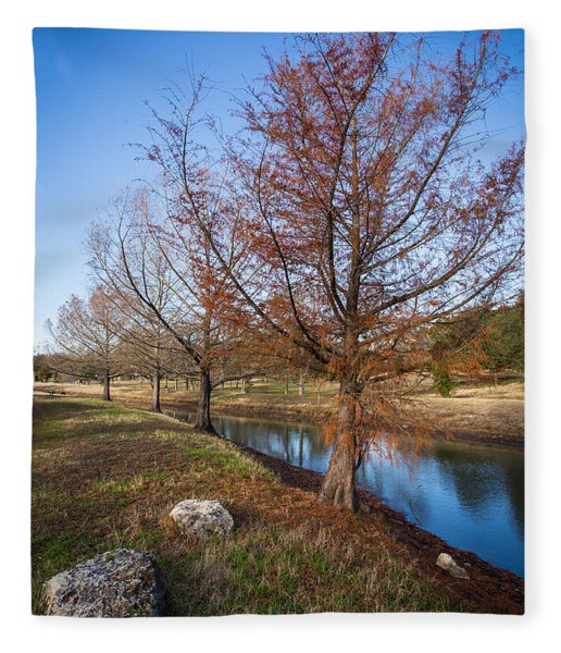 River And Winter Trees Fleece Blanket