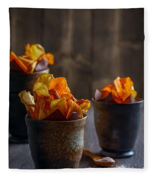 Root Vegetable Crisps Fleece Blanket
