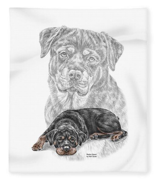 Rottie Charm - Rottweiler Dog Print With Color Fleece Blanket