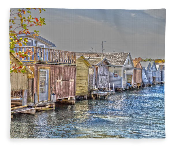 Row Of Boathouses Fleece Blanket