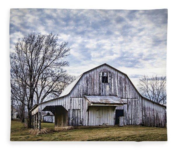 Rustic White Barn Fleece Blanket