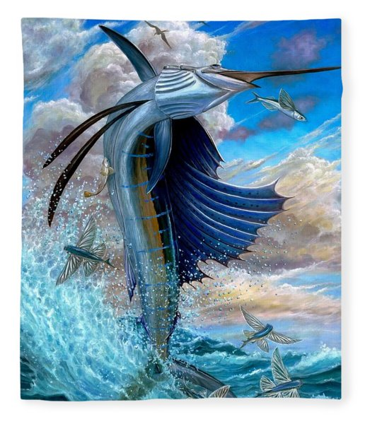 Sailfish And Flying Fish Fleece Blanket