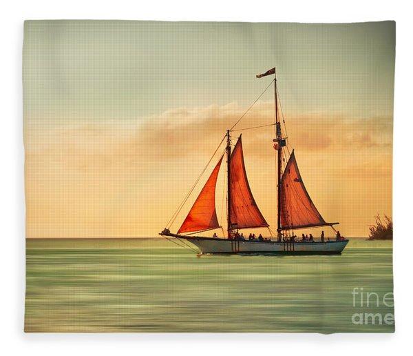 Sailing Into The Sun Fleece Blanket