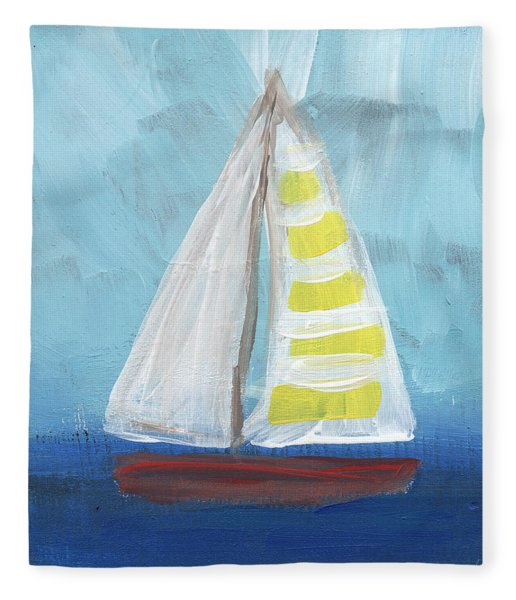 Sailing- Sailboat Painting Fleece Blanket