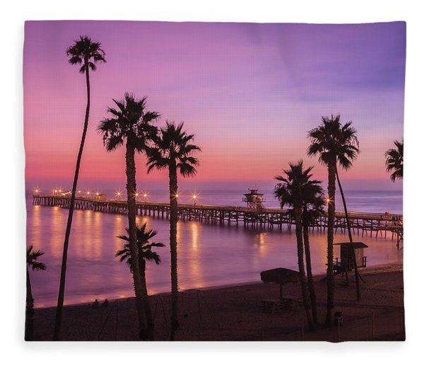 San Clemente Sunset Meditation Fleece Blanket