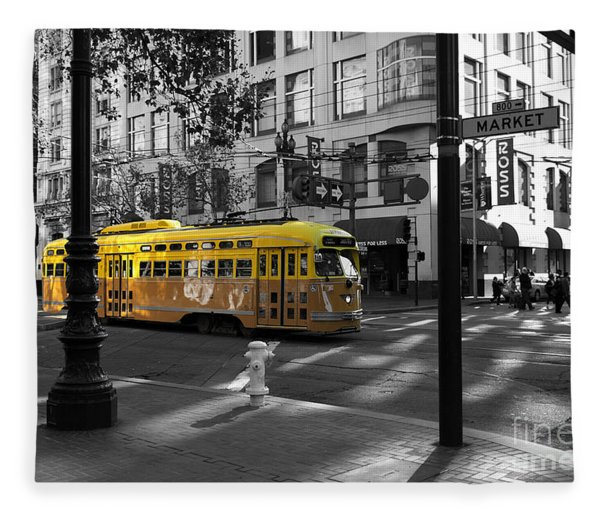 San Francisco Vintage Streetcar On Market Street - 5d19798 - Black And White And Yellow Fleece Blanket
