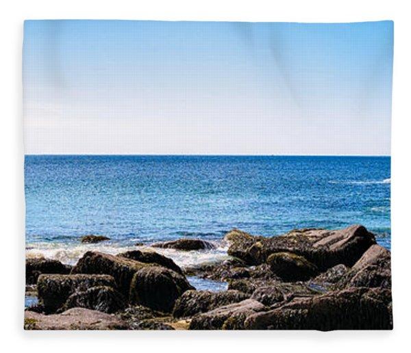 Sand Beach Rocky Shore   Fleece Blanket