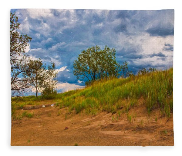 Sand Dunes At Indian Dunes National Lakeshore Fleece Blanket