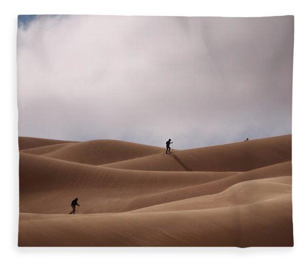 Sand Skiing Fleece Blanket