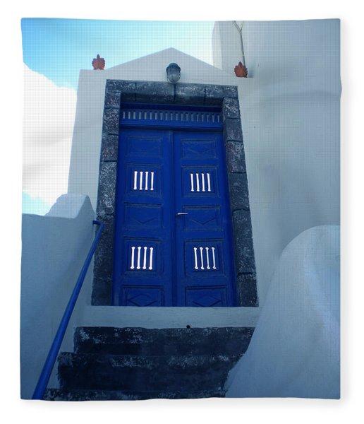 Fleece Blanket featuring the photograph Santorini Door  To Heaven  by Colette V Hera  Guggenheim