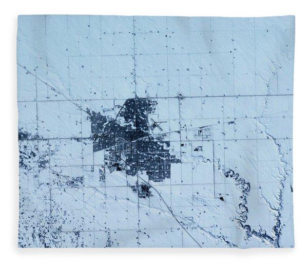 Satellite View Of Regina, Saskatchewan Fleece Blanket