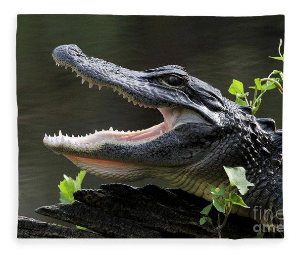 Say Aah - American Alligator Fleece Blanket