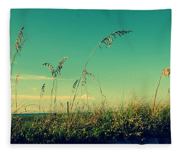 Sea Oats Under The Morning Sun In Sarasota Fleece Blanket