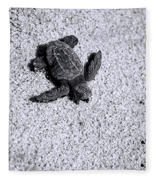 Sea Turtle In Black And White Fleece Blanket