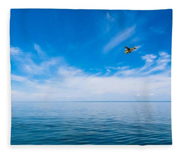 Seaplane Over Lake Superior   Fleece Blanket