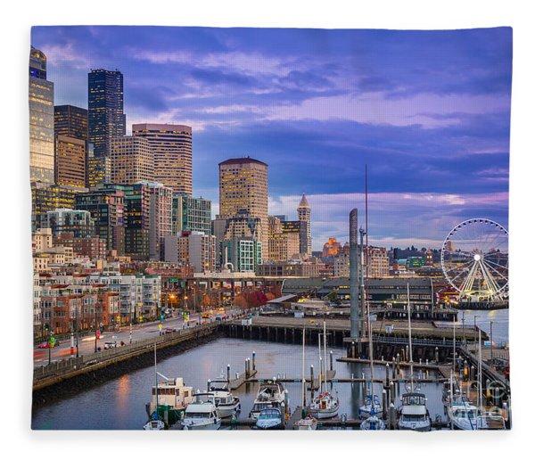 Seattle Great Wheel Fleece Blanket