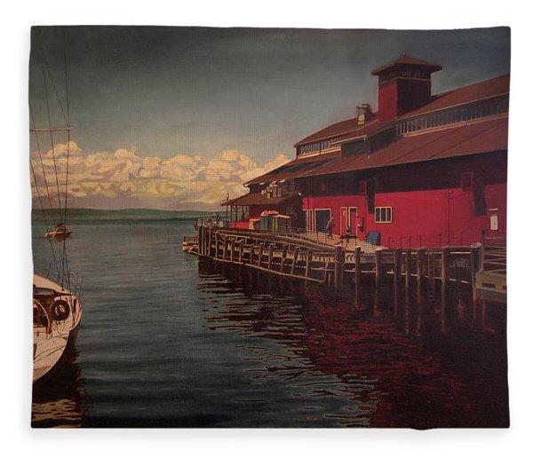 Seattle Waterfront Fleece Blanket