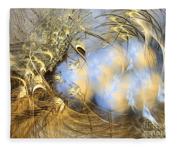 Fleece Blanket featuring the digital art Seeds Of Peace -abstract Art by Sipo Liimatainen