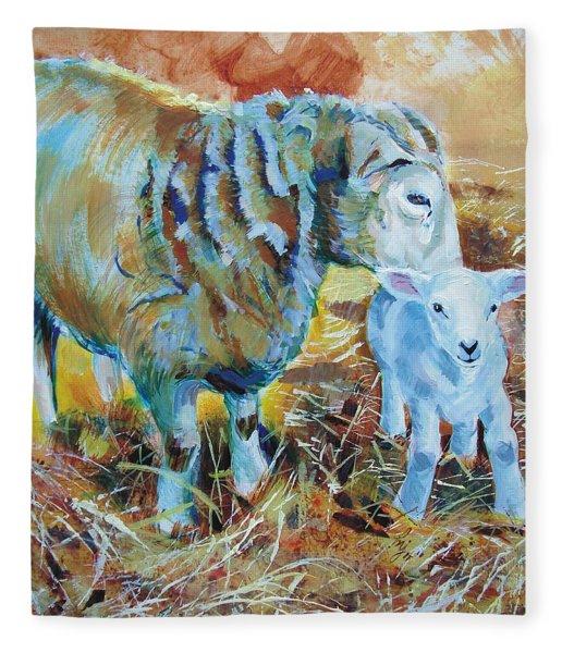 Sheep And Lamb Fleece Blanket