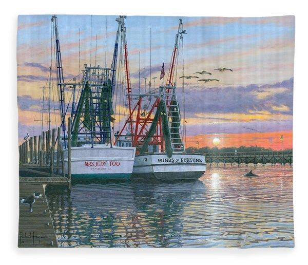 Shem Creek Shrimpers Charleston  Fleece Blanket