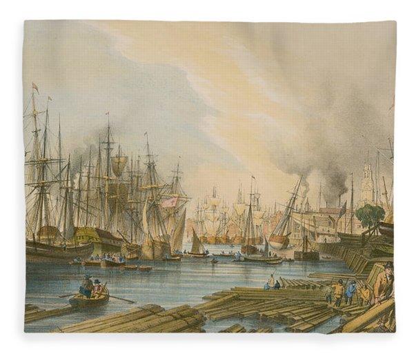 Ship Building At Limehouse Fleece Blanket