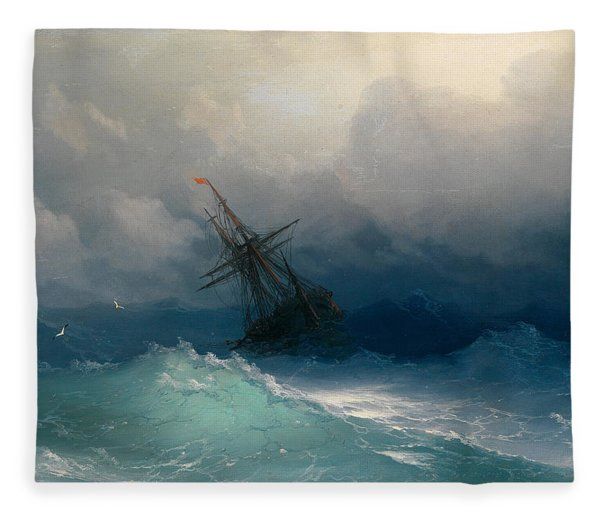 Ship On Stormy Seas Fleece Blanket