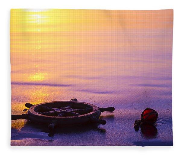 Ships Wheel And Fishing Float Fleece Blanket