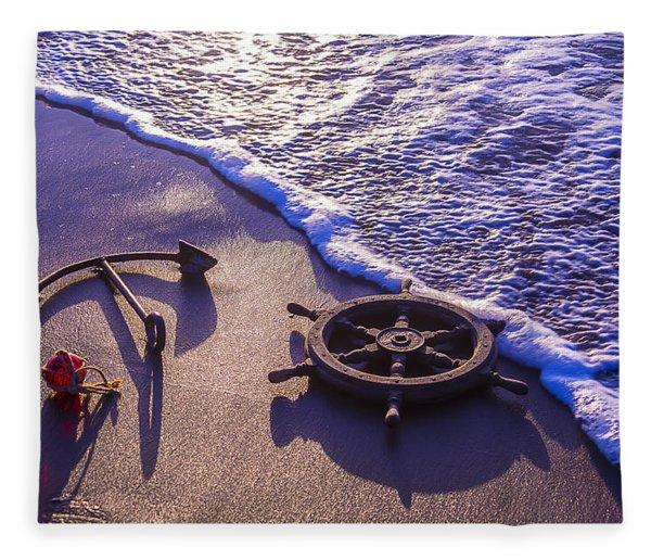 Ship's Wheel Ocean Beach Fleece Blanket