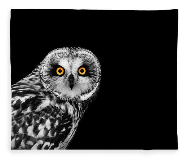 Short-eared Owl Fleece Blanket