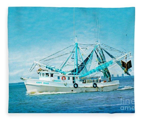 Shrimp Trawler Fleece Blanket