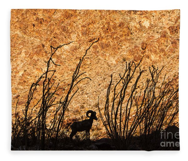 Silhouette Bighorn Sheep Fleece Blanket