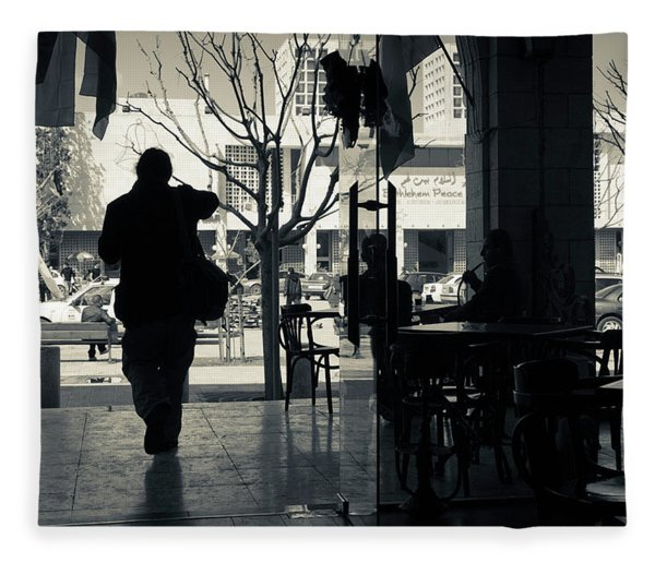 Silhouette Of A Person At Cafe Fleece Blanket