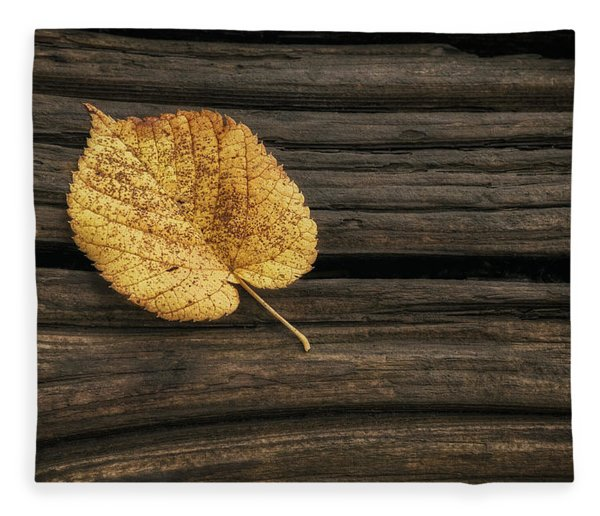 Single Yellow Birch Leaf Fleece Blanket