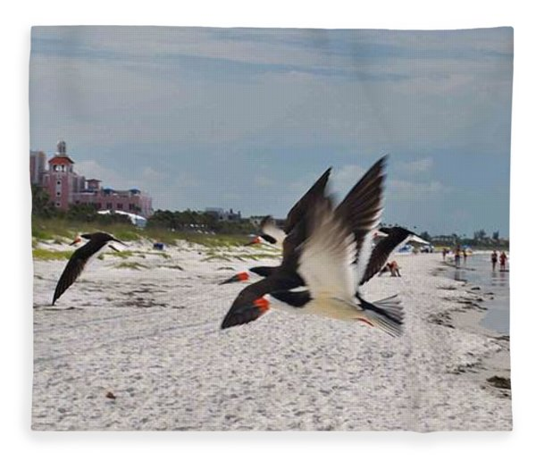 Black Skimmers At Don Cesar Fleece Blanket