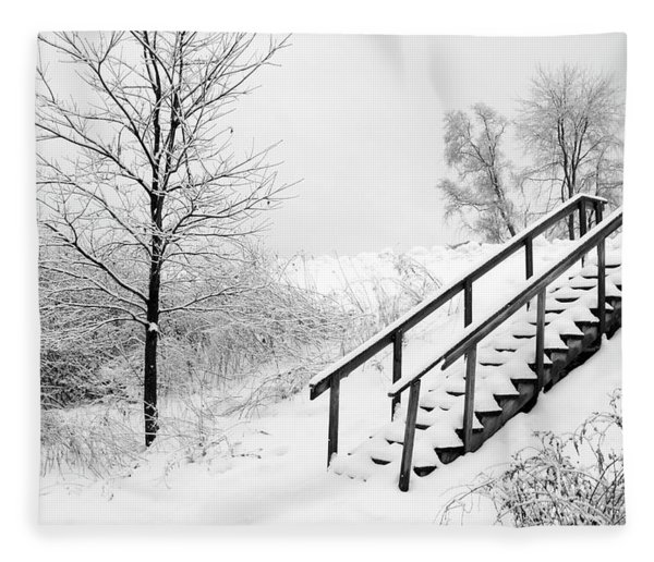 Snow Cover Stairs Fleece Blanket