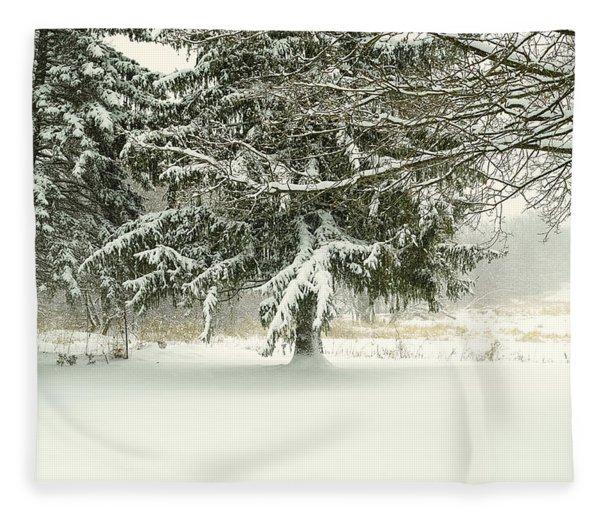 Snow-covered Trees Fleece Blanket