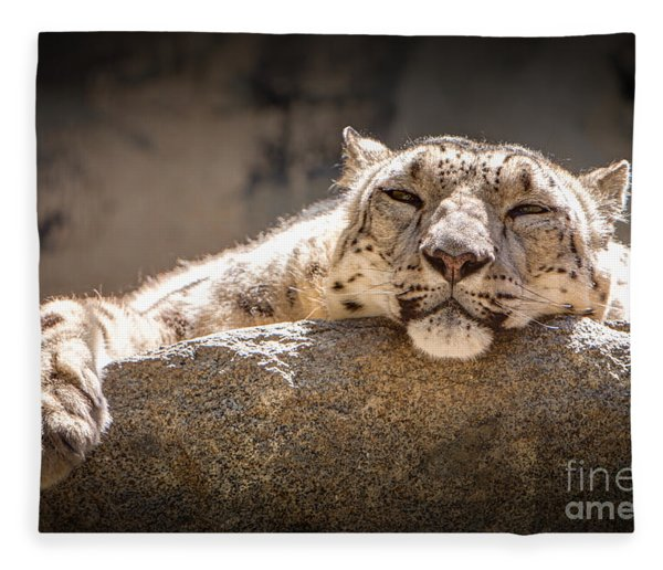 Snow Leopard Relaxing Fleece Blanket