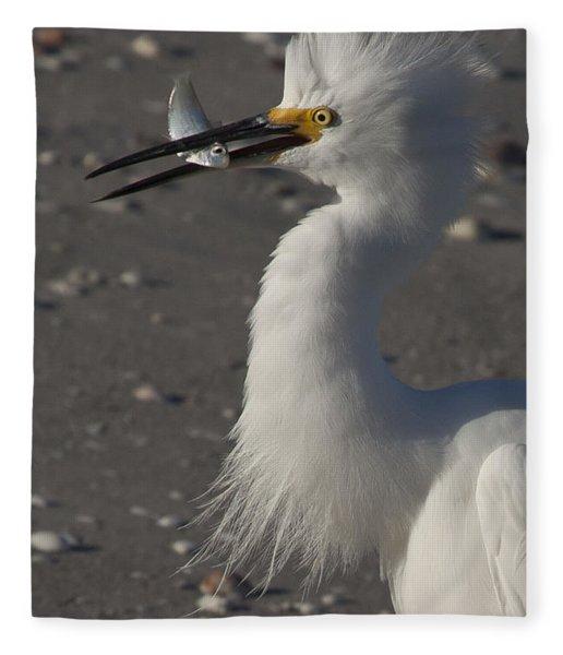 Snowy Egret Fishing Fleece Blanket