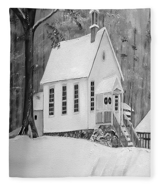 Snowy Gates Chapel -white Church - Portrait View Fleece Blanket