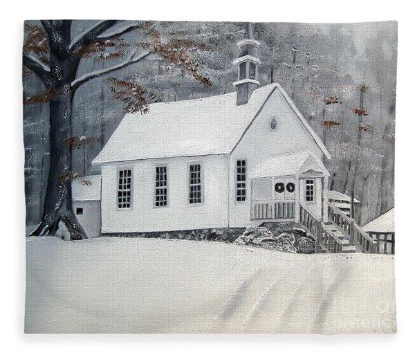 Snowy Gates Chapel  -little White Church - Ellijay Fleece Blanket