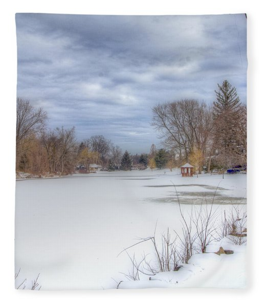 Snowy Lake Fleece Blanket