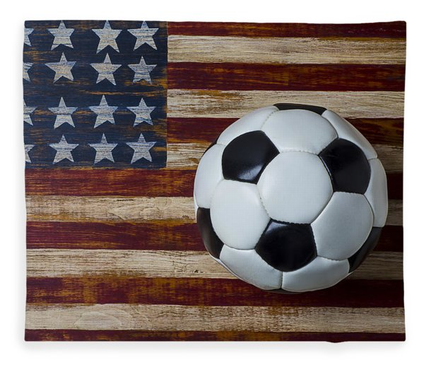 Soccer Ball And Stars And Stripes Fleece Blanket